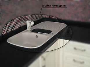Столешница с установленной накладной мойкой